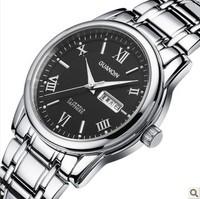Guanqin male ultra-thin quartz watch waterproof double calendar commercial luminous mens watch