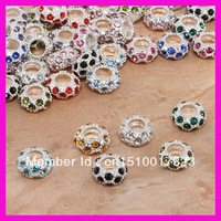 Free shipping Mix order silver rhinestone charms beads in bulk  7*12mm big hole european beads 100pcs
