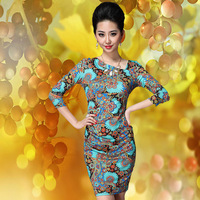 Ybkcp 2013 autumn fashion viscose fashion digital print V-neck long-sleeve dress