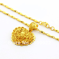 jP043 2013 New Arrival Women's Jewelry  24K Yellow Gold Plated Charm Necklace With Heart  Pendant Cheap Charming Bridal Jewelry