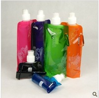 5 portable folding water bottle outdoor plastic water bag eco-friendly 480ml water bottle glass