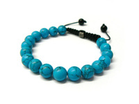 Beautiful 10mm Blue Turquoise beads shamballa bracelet / super price,Free shipping