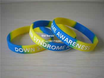 síndrome de down pulsera conciencia, pulsera de silicona, el logo grabado, adultos, regalo de la promoción, 100pcs/lot, envío gratis