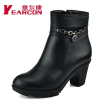 2014 New  female cotton-padded shoes winter thick heel platform genuine leather wool boots plus size mother shoes