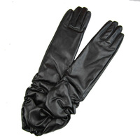 Size L  Fashion Lady's Women Long Black/Purple Wrinkle Opera  Leather Gloves Winter Gloves 50cm