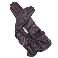 Size M  Fashion Lady's Women Long Black/Purple Wrinkle Opera  Leather Gloves Winter Fall Gloves 50cm