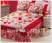 Free DHL Shipping Nice Strawberry Shortcake Bedding Set Covers 3pcs Cartoon Bed Quilt/Sheet/Pillow Case