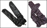 Size S Lady's Women Long Black/Purple Wrinkle Opera  Leather Gloves Winter Fall Gloves 50cm