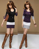 2013 fashion Korea Women's Long Sleeve T-Shirts Ladies Top Wear Lady Clothes O-Neck Tops Blouse Stripe Dress