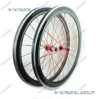 1725g Carbon Wheelset Clincher 50mm 700c Bike Wheels Alloy Braking Surface 3K Glossy Red Hubs Red Spokes 20/24H