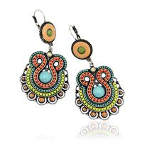 2014 New Women Fashion Bohemia Style Silver Plated Multicolor Enamel Beads Statement Drop Earrings Jewelry D33975
