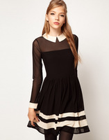 2013 new arrival women's fashion high quality semi-sheer mesh spliced chiffion dresses free shipping
