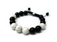 Fashion Jewelry Gift ! 10mm Black Onyx and White Howlite Bead Shamballa Bracelet Free Shipping