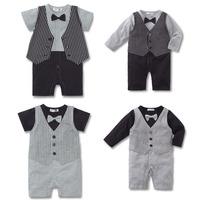 Children's clothing SENSHUKAI male child vest faux two piece style bag romper baby one piece romper