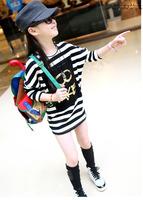 2013 children's autumn clothing child one-piece dress 100% cotton female child stripe batwing shirt female child three quarter