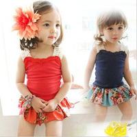 Baby friendly 2013 children's clothing female child baby sleeveless spaghetti strap vest 100% flower cotton culottes set