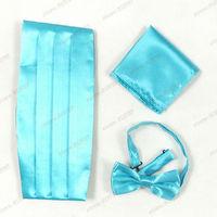 2013 Men Apparel Accessories,British Style Hot Sale Festivel Decration Sky Blue Bow-tie,Handkerchief And Cummerbund  Sets