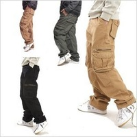 Multi-pocket 2013 autumn and winter outdoor loose long straight hiphop pants men's overalls casual cargo trousers big plus size