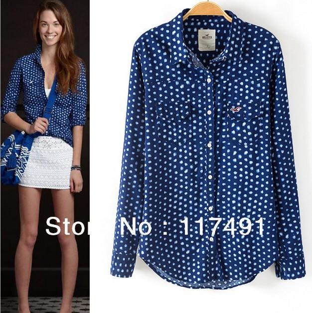 Blue Polka Dot Shirt Womens Polka Dot Wild Blue Blouse