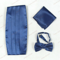 2013 Men Apparel Accessories,British Style Hot Sale Festivel Decration Dark Blue Bow-tie,Handkerchief And Cummerbund  Sets