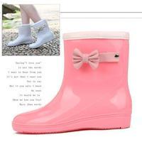 2014 women's warm boots rainboots cute bow girls rubber rain boots for spring summer fall autumn