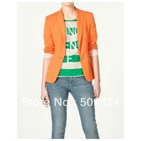 Women's Lovely Orange Notched Solid Coat - 585553XS23