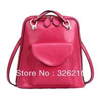 Free Shipping genuine leather backpack preppy style vintage shoulder bag school bag