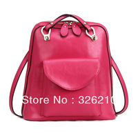 Free Shipping genuine leather backpack preppy style vintage shoulder bag school bag