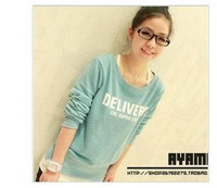 2013 spring and autumn school wear o-neck long-sleeve sweatshirt slim women's letter sweatshirt