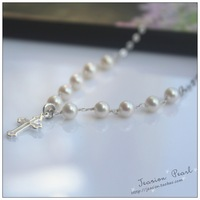 Free Shipping Sterling 925 Silver Handmade Freshwater Pearl Necklace With Pure Silver Cross Pandent