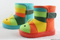 2013 winter soft slip-resistant waterproof child snow boots  thermal leather children boots cotton-padded shoes