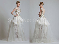 Graceful EA0009 Excellent Applique Inisde Puffy Skirt Floor Length transparent Lace Wedding Dress
