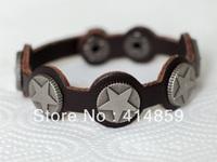 234 Brown man leather bracelet Sport and hip hop bracelet star pattern