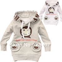 Spring and autumn baby 100% cotton sweatshirt infant o-neck little monkey pullover children outerwear