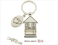 8GB Metal House USB Flash Drive with Keychain (Silver)
