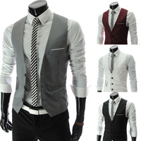 2013 new Men's Korean style slim V collar vest mens fashion weskit Asia size M/L/XL/XXL RED/Black/Grey avaible