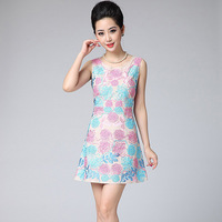 Free shipping 2013 Sleeveless Elegant Women's Embroidery Slim Dress