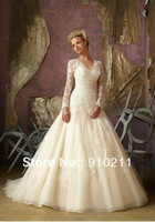 2013 New Style Long Sleeve V Neck Bridal Wedding Dresses