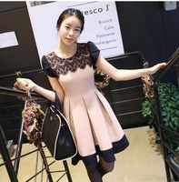 free shipping! 2013 new cute ball gown lace patchwork high street dress pink fashion dress short sleeve Q3083