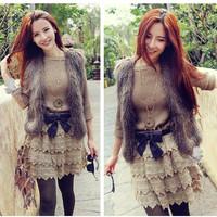 2014 women Faux Fur coat vest fashion fur vest solid color free size