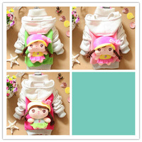 3pcs/lot 2013 Girls Clothing 3D Cartoon Doll Design Hoodies/Cardigan for 2-4 years 3 Colors A090