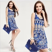 Free shipping  2013 Blue sequins short dress evening elegant