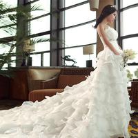 Quality Layered Organza Bridal Veil Glamorous Beaded Weding Dress Long Trailing Wedding Dress 2014 romantic vestido de noiva