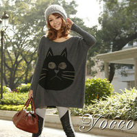 New 2013 autumn -summer loose batwing sweater shirt cartoon cat print long-sleeve knitted sweater plus size women's outerwear