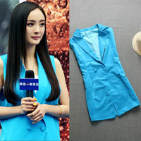 Free shipping Women's 2013 Ladies Elegant Autumn and Winter Blue Sleeveless Suit