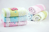 Free Shipping, 5pcs/Lot 100% Cotton Square Towel 34X34CM 45g/piece ,2 Colors , cheap and good quality from factory