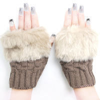 Gloves female yarn lucy refers to semi-finger thermal knitted faux fur
