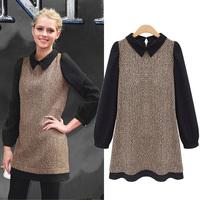 Free Shipping Fashion high quality plus size clothing dress autumn and winter long-sleeve woolen chiffon dress