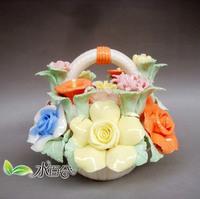 For dec  oration porcelain ceramic flower basket decoration technology pinch carving cul-de-lampe home gifts modern crafts