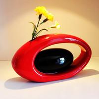 Brief vase ceramic decoration modern fashion red vase crafts vase wedding gift